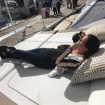 Bryony catching some sun on a Princess Yacht